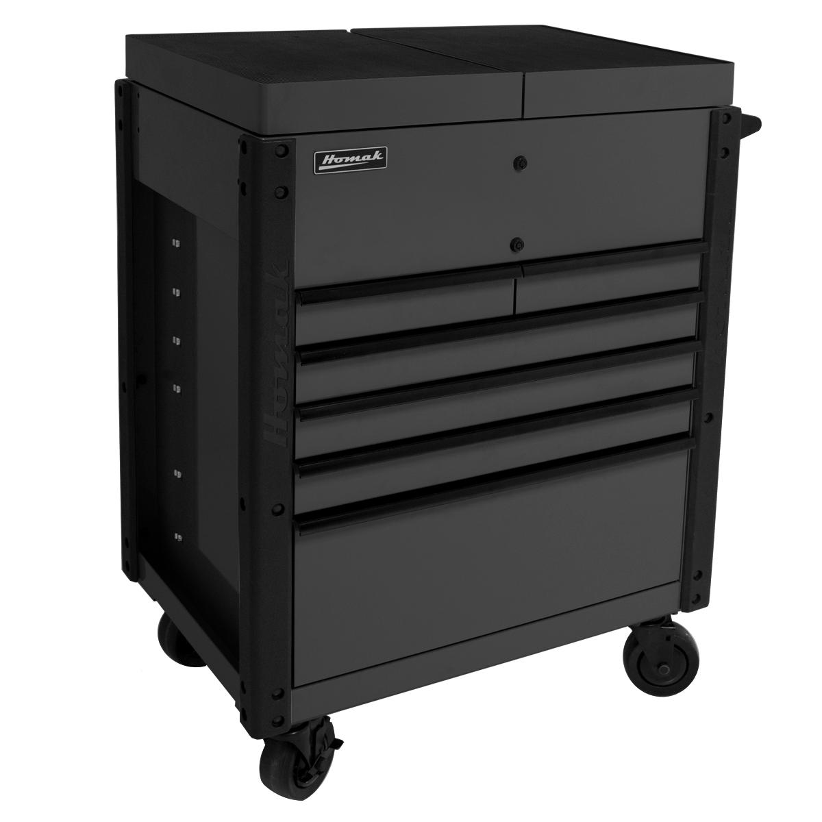 6-Drawer-Service-Cart-Black-Corner-View-top