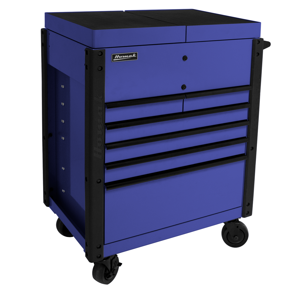 6-Drawer-Service-Cart-Blue-Corner-View-top
